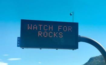 "Roadsign - ""Watch for Rocks"""